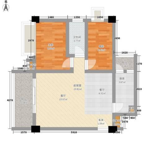 花城路小区2室0厅1卫1厨62.00㎡户型图