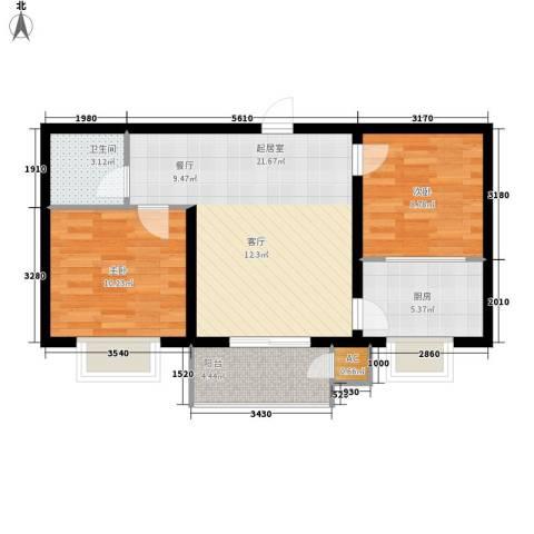 蔚蓝花城2室0厅1卫1厨78.00㎡户型图