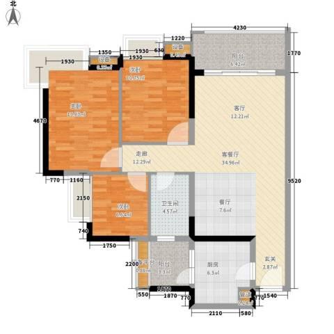 金碧领秀国际3室1厅1卫1厨102.00㎡户型图