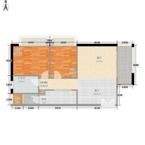 东海嘉园2室0厅1卫1厨74.00㎡户型图