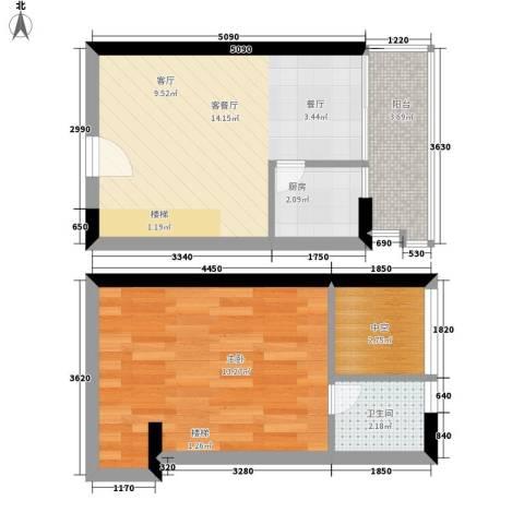 东方都会广场1室1厅1卫1厨44.00㎡户型图