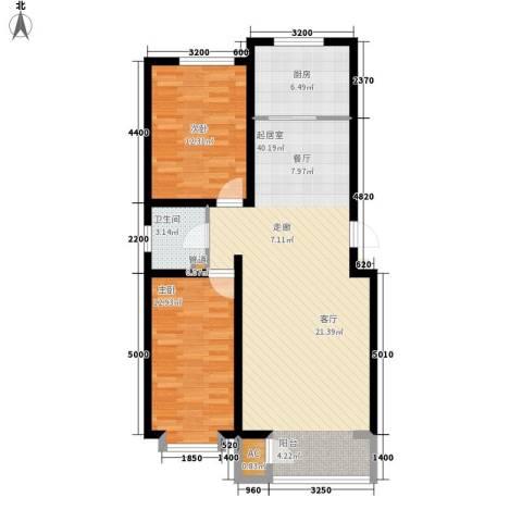蔚蓝花城2室0厅1卫1厨107.00㎡户型图