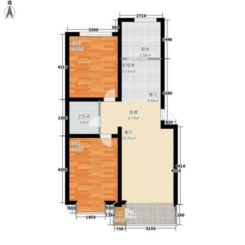 蔚蓝花城2室0厅1卫1厨96.00㎡户型图