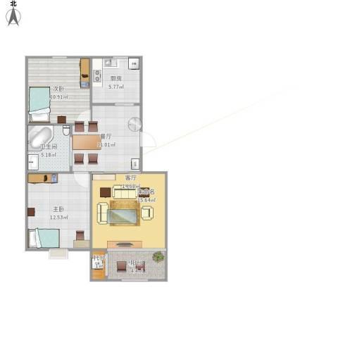 新柳城2室2厅1卫1厨89.00㎡户型图