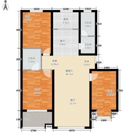 中阳信和水岸3室1厅3卫1厨138.00㎡户型图