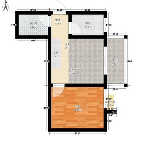 圣都大厦1室1厅1卫1厨45.27㎡户型图