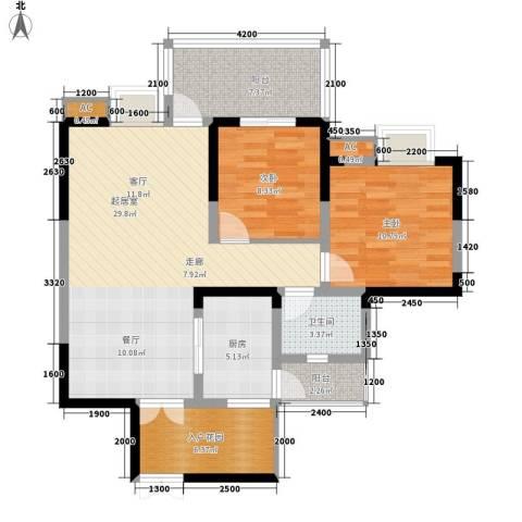 红树湾2室0厅1卫1厨84.00㎡户型图