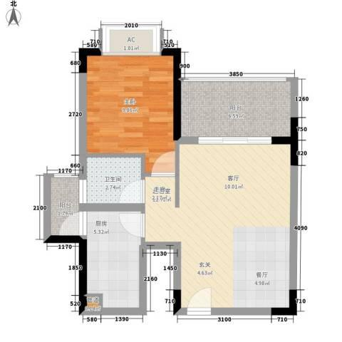 山海和湾1室0厅1卫1厨59.00㎡户型图