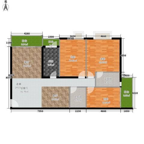 宏景台3室1厅2卫1厨149.00㎡户型图