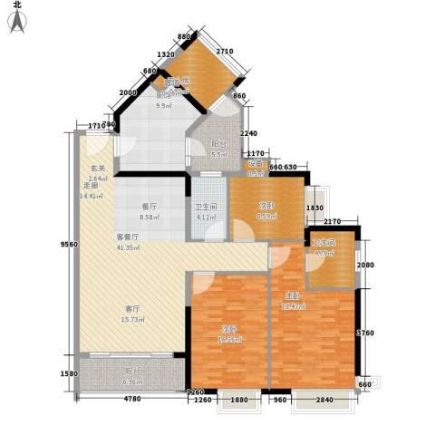 金碧领秀国际3室1厅2卫1厨136.00㎡户型图