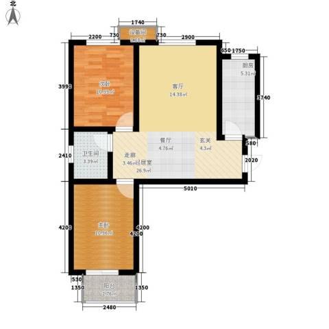 天冠城2室0厅1卫1厨88.00㎡户型图