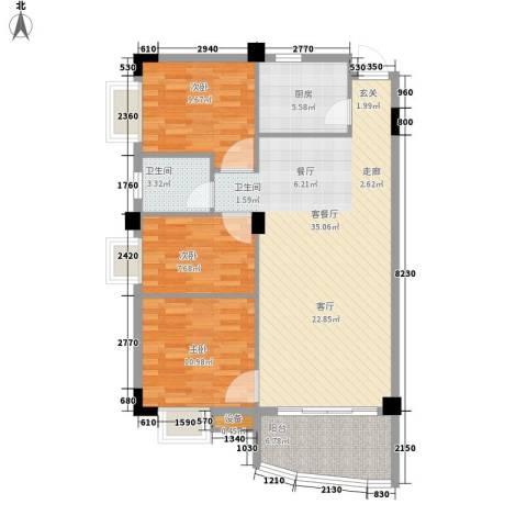 泰景花园3室1厅1卫1厨88.00㎡户型图