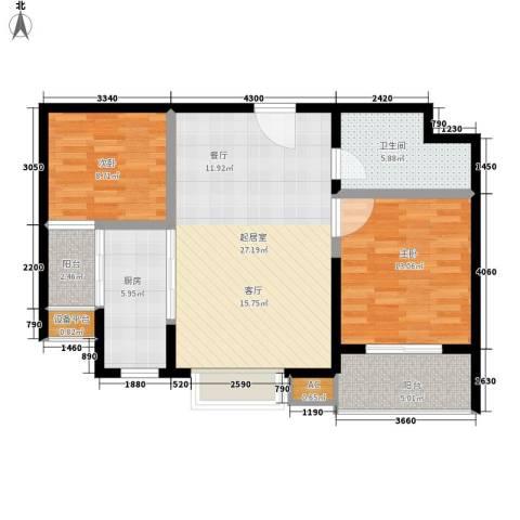万国远鉴名筑2室0厅1卫1厨81.00㎡户型图