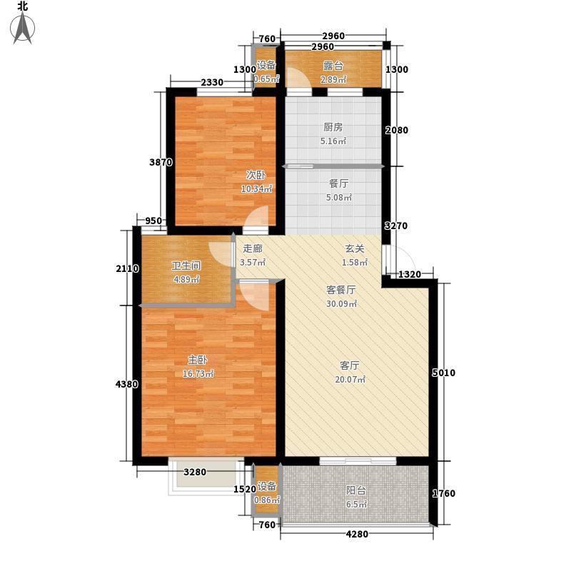 现代同心阁89.00㎡C1´´户型2室2厅1卫