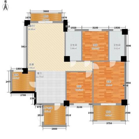 统建水岸人家3室1厅2卫1厨122.00㎡户型图