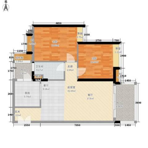 保利中环广场2室0厅1卫1厨95.00㎡户型图