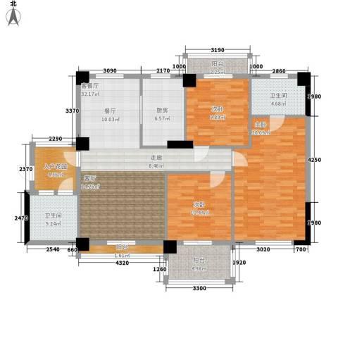 统建水岸人家3室1厅2卫1厨117.00㎡户型图