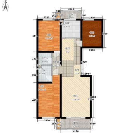 闻都雅苑3室1厅2卫1厨129.00㎡户型图