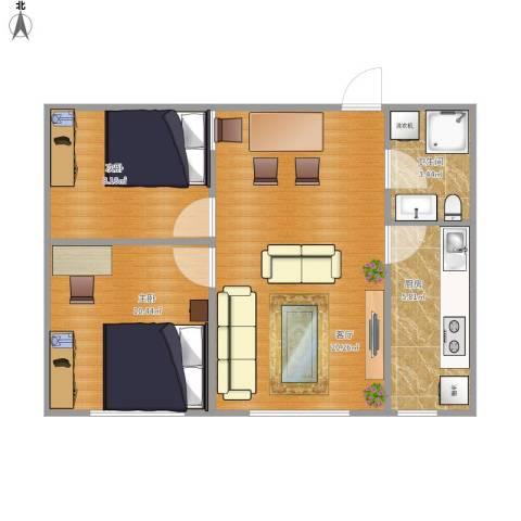 永升嘉园2室1厅1卫1厨65.00㎡户型图