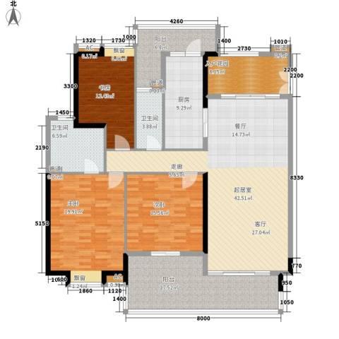 保利中环广场3室0厅2卫1厨164.00㎡户型图