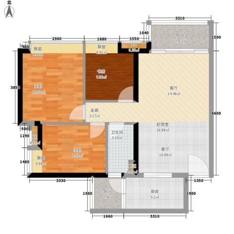 保利中环广场3室0厅1卫1厨94.00㎡户型图