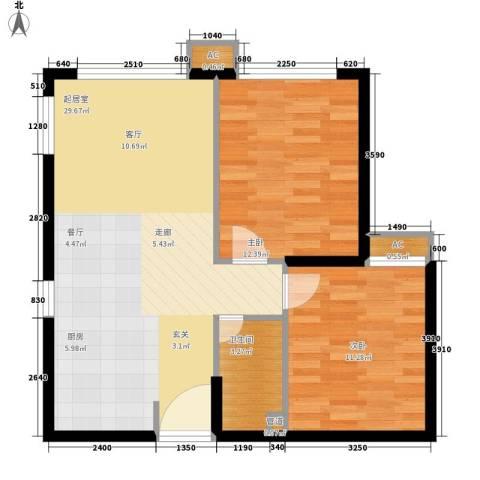 翠屏紫气钟山2室0厅1卫0厨64.00㎡户型图