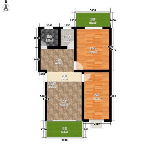 紫薇苑2室1厅1卫1厨80.00㎡户型图