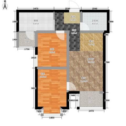 铂庭2室1厅1卫1厨66.29㎡户型图