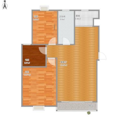 榕城奥运星城3室1厅1卫1厨80.36㎡户型图