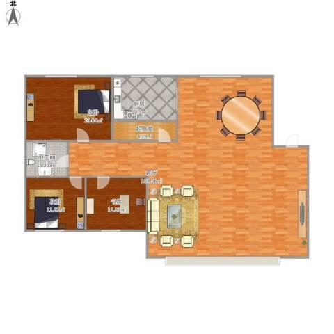 山水家园3室1厅1卫1厨220.00㎡户型图