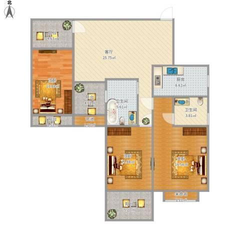 紫荆花园3室1厅2卫1厨135.00㎡户型图