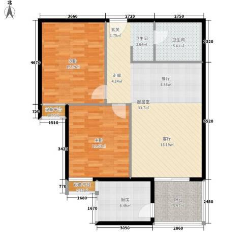 宏府嘉会公寓2室0厅1卫1厨91.00㎡户型图