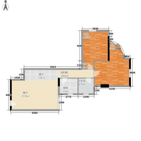 东方之珠花园2室0厅1卫1厨100.00㎡户型图