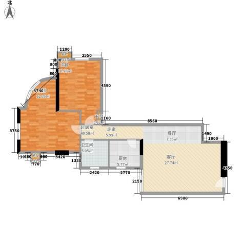 东方之珠花园2室0厅1卫1厨101.71㎡户型图