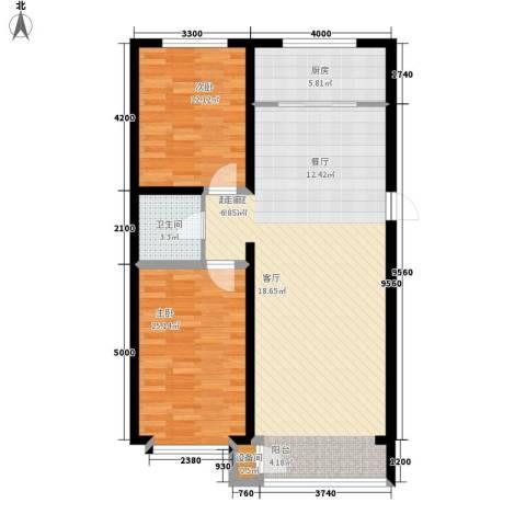 蔚蓝花城2室0厅1卫1厨103.00㎡户型图