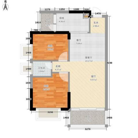 紫茗花园2室1厅1卫1厨58.55㎡户型图