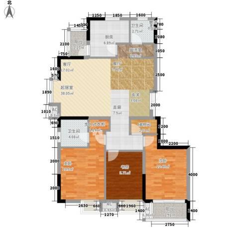 富鹏塘园路小区3室0厅2卫1厨104.00㎡户型图