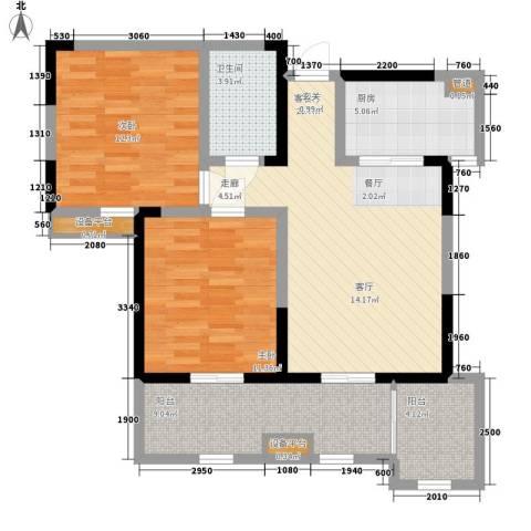 桃苑红杉郡2室1厅1卫1厨87.00㎡户型图