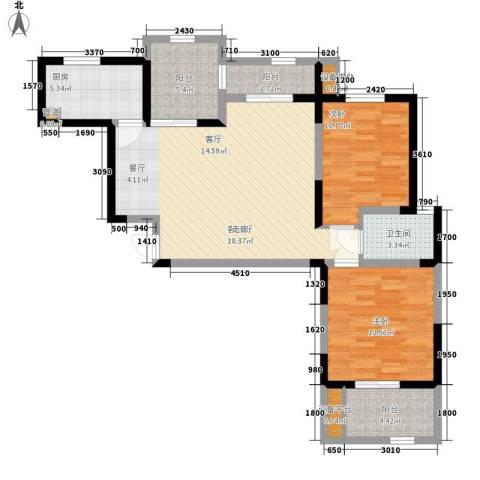 桃苑红杉郡2室1厅1卫1厨94.00㎡户型图