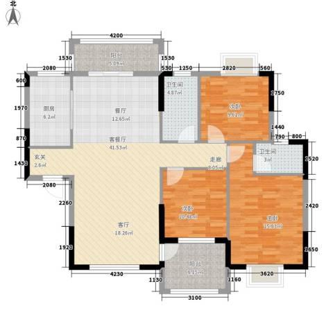 紫茗花园3室1厅2卫1厨113.92㎡户型图