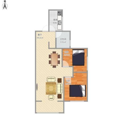 旭辉香樟公馆2室1厅1卫1厨80.00㎡户型图