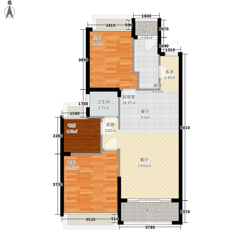 惠丰瑞城94.00㎡F1户型3室2厅