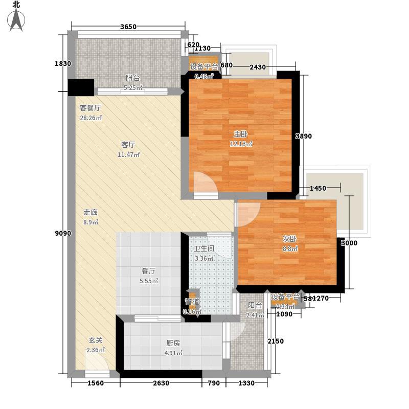 中海金沙湾86.37㎡B4栋5―27层0面积8637m户型