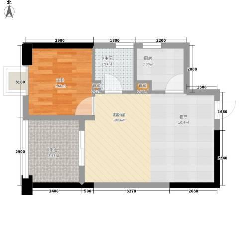 东方希望天祥广场天荟1室0厅1卫1厨59.00㎡户型图
