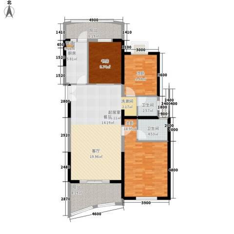 成都大魔方3室0厅2卫1厨133.00㎡户型图