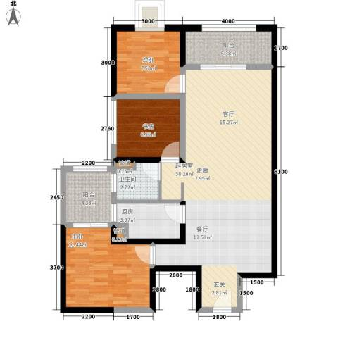 东方希望天祥广场天荟3室0厅1卫1厨111.00㎡户型图