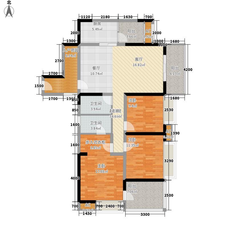 航天城上城135.00㎡一期11号楼标准层A2户型