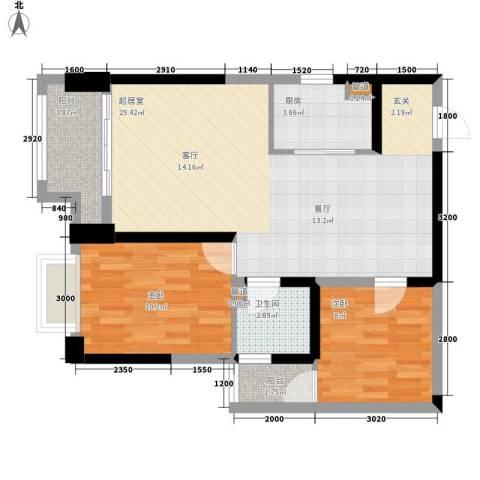 东方希望天祥广场天荟2室0厅1卫1厨84.00㎡户型图