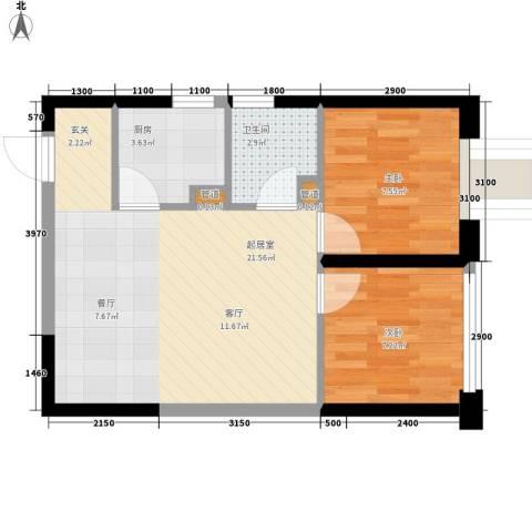 东方希望天祥广场天荟2室0厅1卫1厨58.00㎡户型图