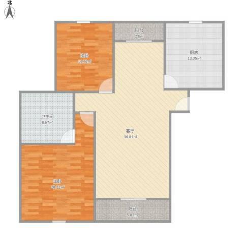保利海上五月花2室1厅1卫1厨132.00㎡户型图